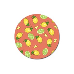 Lemons And Limes Peach Magnet 3  (round) by snowwhitegirl