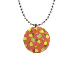 Lemons And Limes Peach Button Necklaces by snowwhitegirl