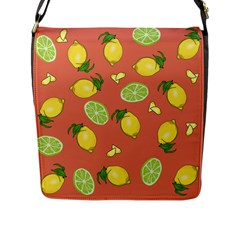 Lemons And Limes Peach Flap Closure Messenger Bag (l) by snowwhitegirl