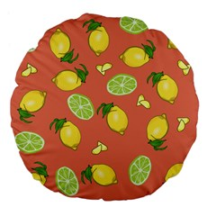 Lemons And Limes Peach Large 18  Premium Flano Round Cushions