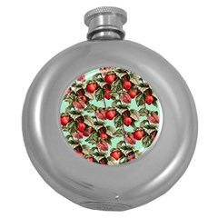 Fruit Branches Green Round Hip Flask (5 Oz) by snowwhitegirl