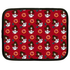 Girl With Dress Red Netbook Case (xxl) by snowwhitegirl