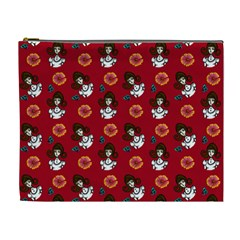 Girl With Dress Red Cosmetic Bag (xl) by snowwhitegirl