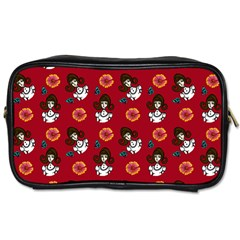 Girl With Dress Red Toiletries Bag (two Sides)