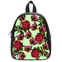 Lazy Cat Floral Pattern Green School Bag (small)