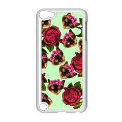 Lazy Cat Floral Pattern Green Apple Ipod Touch 5 Case (white) by snowwhitegirl