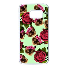 Lazy Cat Floral Pattern Green Samsung Galaxy S7 White Seamless Case