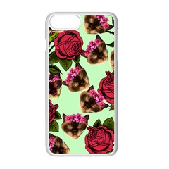 Lazy Cat Floral Pattern Green Apple Iphone 8 Plus Seamless Case (white)