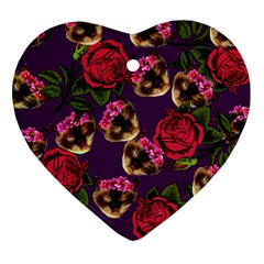 Lazy Cat Floral Pattern Purple Heart Ornament (two Sides) by snowwhitegirl