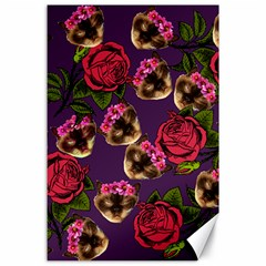 Lazy Cat Floral Pattern Purple Canvas 24  X 36  by snowwhitegirl
