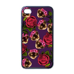 Lazy Cat Floral Pattern Purple Apple Iphone 4 Case (black) by snowwhitegirl
