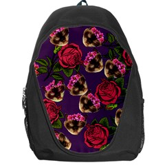 Lazy Cat Floral Pattern Purple Backpack Bag by snowwhitegirl