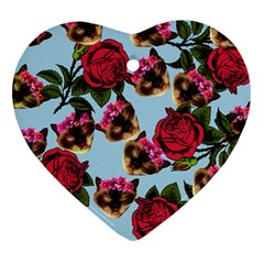 Lazy Cat Floral Pattern Blue Heart Ornament (two Sides) by snowwhitegirl