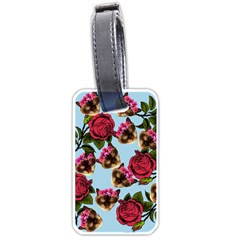 Lazy Cat Floral Pattern Blue Luggage Tags (one Side)  by snowwhitegirl