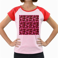 Lazy Cat Floral Pattern Pink Polka Women s Cap Sleeve T Shirt