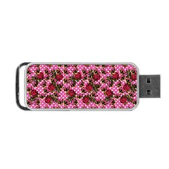 Lazy Cat Floral Pattern Pink Polka Portable Usb Flash (two Sides) by snowwhitegirl