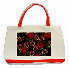 Lazy Cat Floral Pattern Black Classic Tote Bag (red) by snowwhitegirl