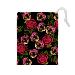 Lazy Cat Floral Pattern Black Drawstring Pouch (large)