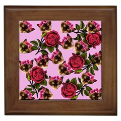 Lazy Cat Floral Pattern Pink Framed Tiles by snowwhitegirl