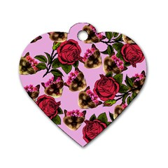 Lazy Cat Floral Pattern Pink Dog Tag Heart (one Side) by snowwhitegirl