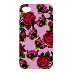Lazy Cat Floral Pattern Pink Apple Iphone 4/4s Hardshell Case by snowwhitegirl