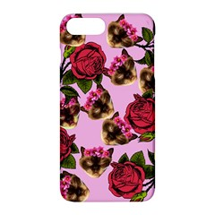 Lazy Cat Floral Pattern Pink Apple Iphone 8 Plus Hardshell Case by snowwhitegirl