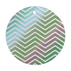 Ombre Zigzag 02 Round Ornament (two Sides) by snowwhitegirl