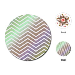 Ombre Zigzag 03 Playing Cards (round)
