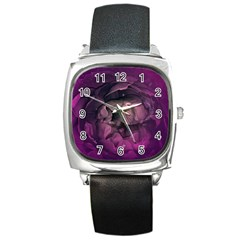 Wonderful Flower In Ultra Violet Colors Square Metal Watch by FantasyWorld7