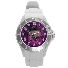 Wonderful Flower In Ultra Violet Colors Round Plastic Sport Watch (l) by FantasyWorld7