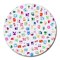 Colorful Abstract Symbols Round Mousepads by FunnyCow