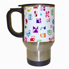 Colorful Abstract Symbols Travel Mugs (white) by FunnyCow