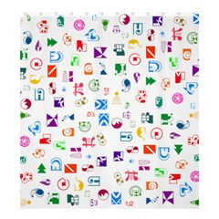 Colorful Abstract Symbols Shower Curtain 66  X 72  (large)  by FunnyCow