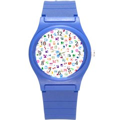 Colorful Abstract Symbols Round Plastic Sport Watch (s) by FunnyCow