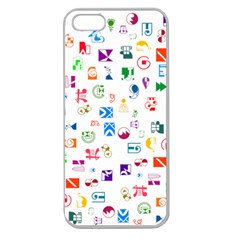 Colorful Abstract Symbols Apple Seamless Iphone 5 Case (clear) by FunnyCow