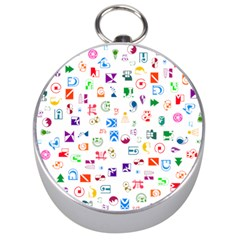 Colorful Abstract Symbols Silver Compasses by FunnyCow