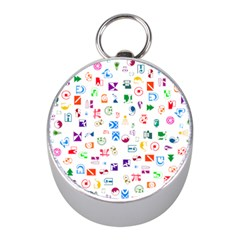 Colorful Abstract Symbols Mini Silver Compasses by FunnyCow