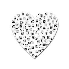 Black Abstract Symbols Heart Magnet by FunnyCow