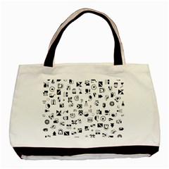 Black Abstract Symbols Basic Tote Bag (two Sides) by FunnyCow
