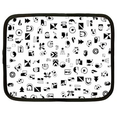 Black Abstract Symbols Netbook Case (large) by FunnyCow
