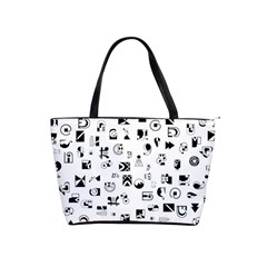 Black Abstract Symbols Classic Shoulder Handbag by FunnyCow