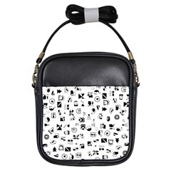 Black Abstract Symbols Girls Sling Bag by FunnyCow