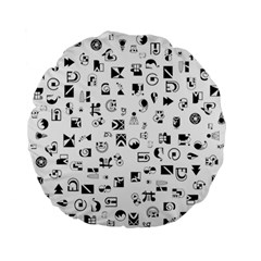 Black Abstract Symbols Standard 15  Premium Flano Round Cushions by FunnyCow