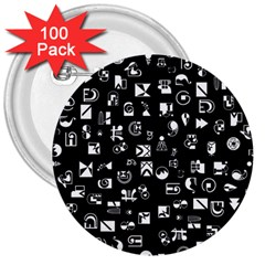 White On Black Abstract Symbols 3  Buttons (100 Pack)  by FunnyCow