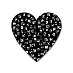 White On Black Abstract Symbols Heart Magnet by FunnyCow