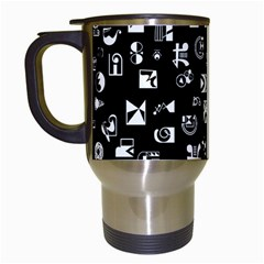 White On Black Abstract Symbols Travel Mugs (white) by FunnyCow