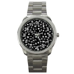 White On Black Abstract Symbols Sport Metal Watch by FunnyCow