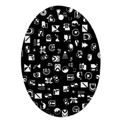White On Black Abstract Symbols Oval Ornament (two Sides) by FunnyCow