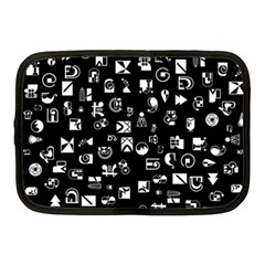 White On Black Abstract Symbols Netbook Case (medium) by FunnyCow