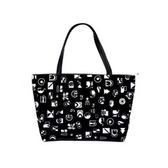 White On Black Abstract Symbols Classic Shoulder Handbag by FunnyCow